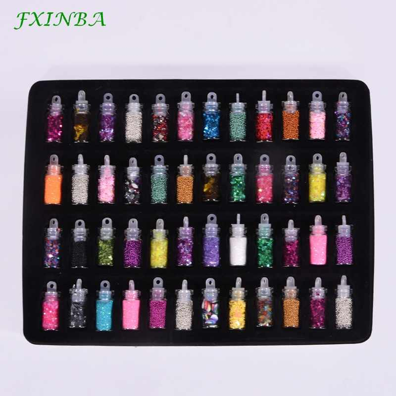 FXINBA 12/24/48Pcs Sequins/Glitter/Slices Filler For Fluffy Slime Box Toys Nails Art DIY Charms Slime Supplies Kit Lizun Decora