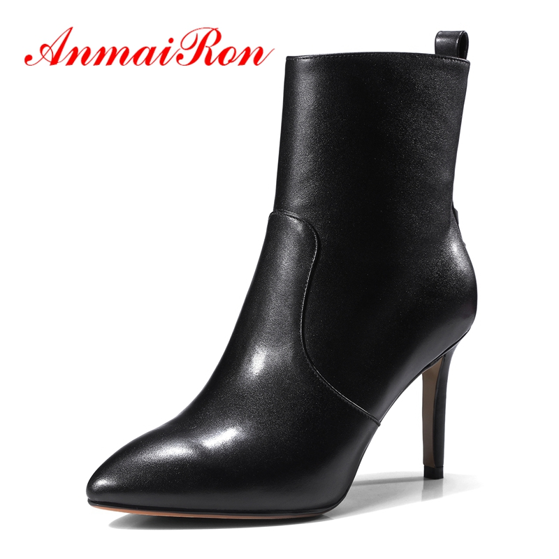 ANMAIRON Pointed Toe Women  winter boots  Ankle women shoes zipper  zapatos de mujer Size 34-39 ZYL1368ANMAIRON Pointed Toe Women  winter boots  Ankle women shoes zipper  zapatos de mujer Size 34-39 ZYL1368