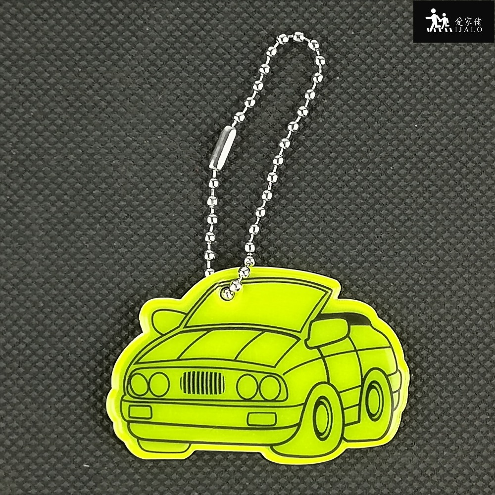 Car shape Soft PVC reflector Reflective keychain bag pendant accessories hanger keryrings for visible safety use