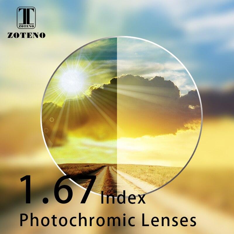 1 67 Index Photochromic Lenses Monofocal Aspheric Resin Transition Grey Brown Lenses Myopia Hyperopia Optical Sunglasses