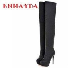 ENMAYDA Grande Taille 34-43 Super Talons Hauts Sur Le Genou Bottes pour Femmes Talons Minces Pu En Cuir Longues pour Femmes Bottes Sexy D'hiver chaussures
