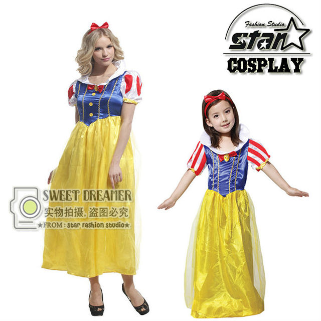 Snow White Mother Daughter Matching Dress Lovely Little Girl Soft Tulle Tutu Dress Cosplay Party Halloween Princess Costume