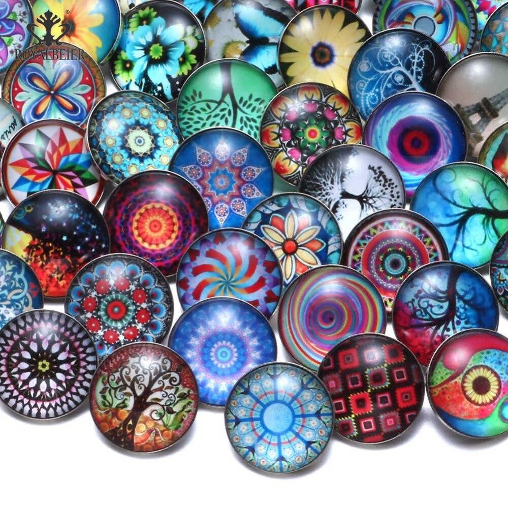 RoyalBeier 20pcs/lot Folk-custom Snap Button 18mm Glass Charms Life Tree Beads Flower Charms For Snap Bracelet Snap Jewelry
