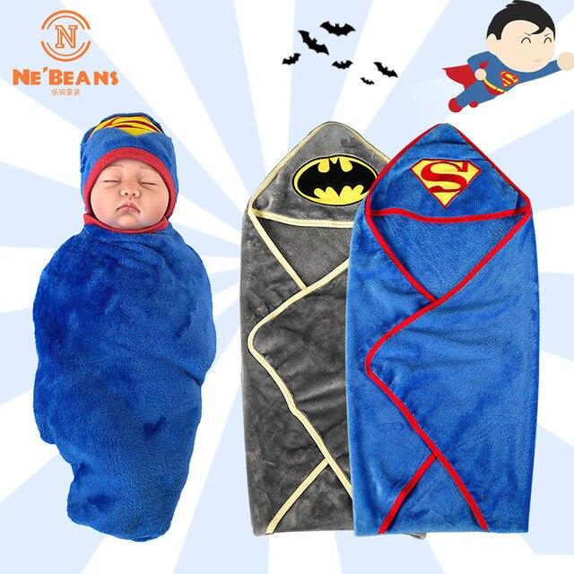 Newborn Bathrobe Superman Batman Baby Blanket Child Hooded Bathrobe Child Newborn Bath Towel Soft Fabric