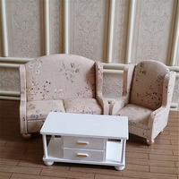 1/6 Dollhouse Furniture toy for dolls miniature sofa white simulation tea table Furniture Kids Children pretend Play Toys gifts