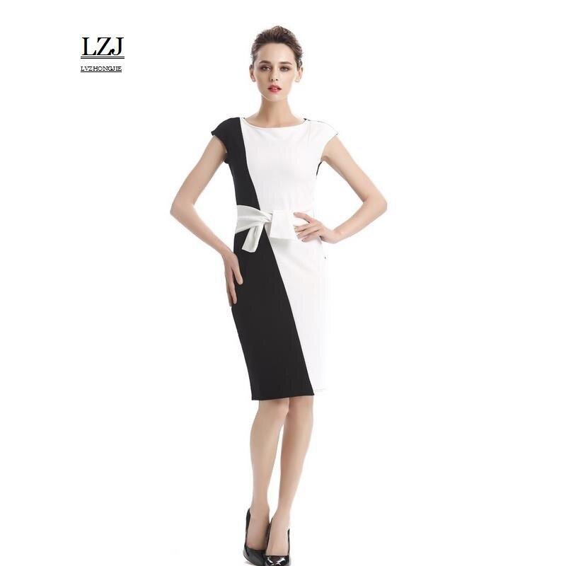 LZJ high quality new women summer clothing vestidos fashion O collar sleeveless belt hit color stitching work pencil dress size