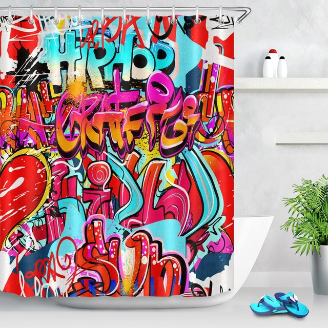 LB Funny Comic Graffiti Hip Hop Shower Curtains Abstract Waterproof Luxury Custom Bathroom Curtain Fabric For