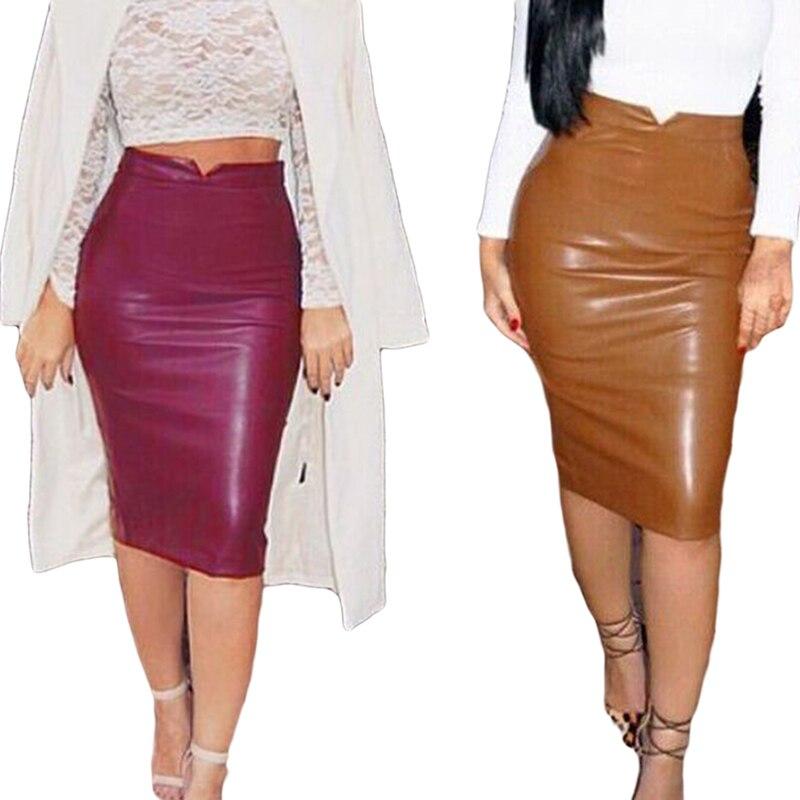 color en cuir jupe - Jupe Colore