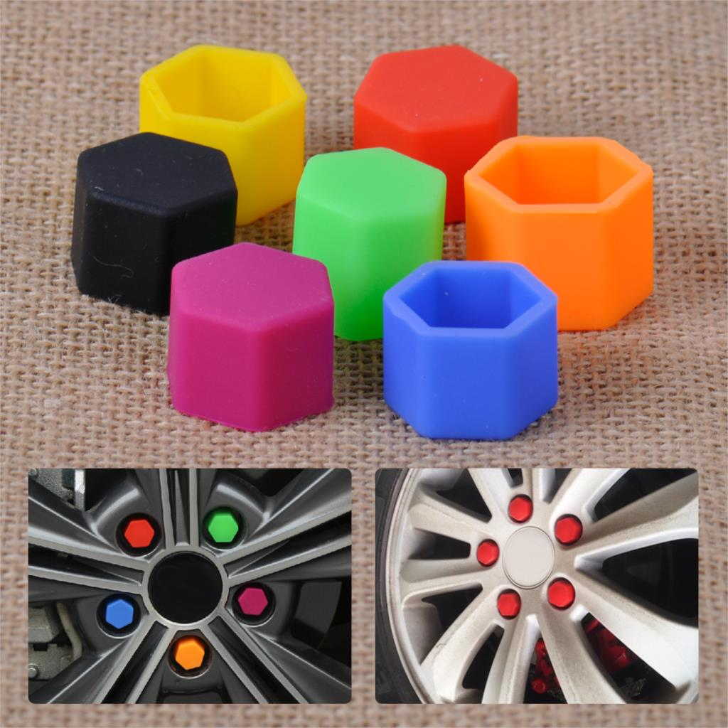 20pcs New Universal 17mm Silicone Hexagonsal Wheel Lug Nut Bolt Cover Protective Tyre Valve Screw Cap