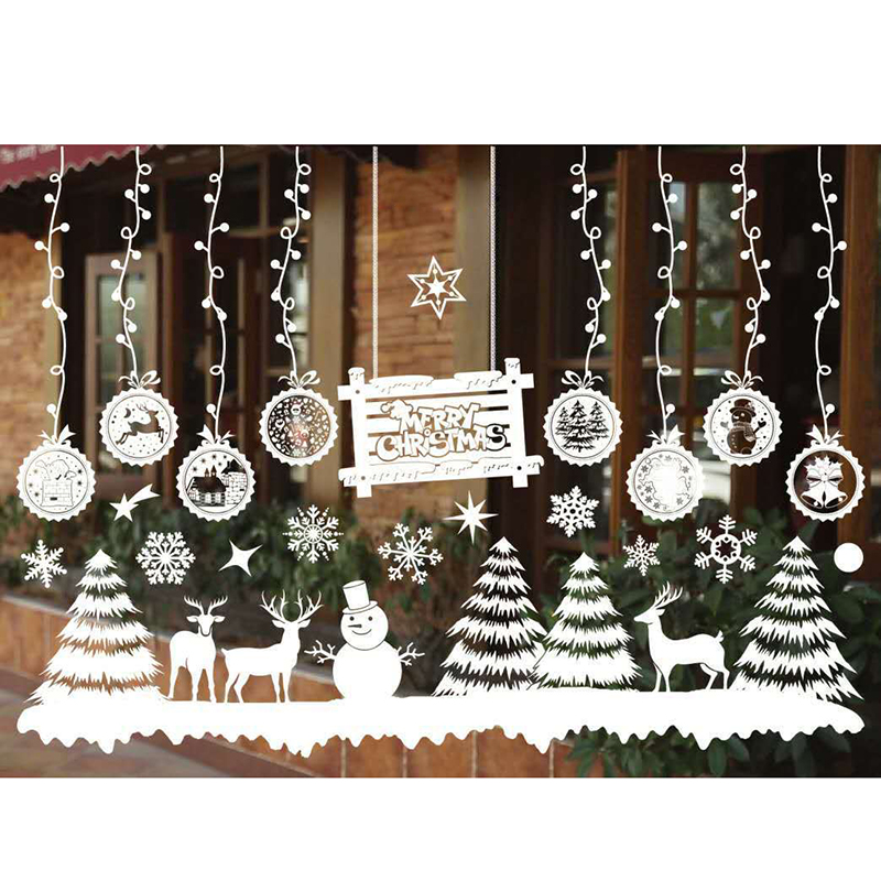 55*38cm Christmas Wall Stickers Christmas Tree Snowman Antelope Santa Claus Shop Window Glass Art Decal Stickers Decor P20