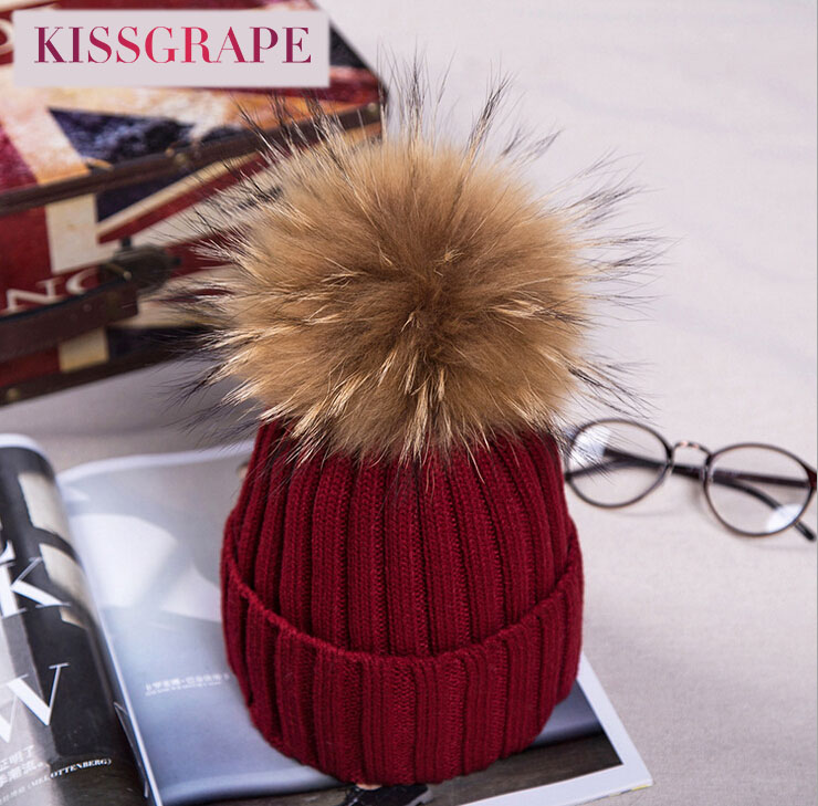 New Autumn Winter Women's Knitted Caps with 15CM Raccoon Fur Pom pom Ball Kids Boys Girls Thick Warm Caps Hats Fur Caps Beanies new star spring cotton baby hat for 6 months 2 years with fluffy raccoon fox fur pom poms touca kids caps for boys and girls