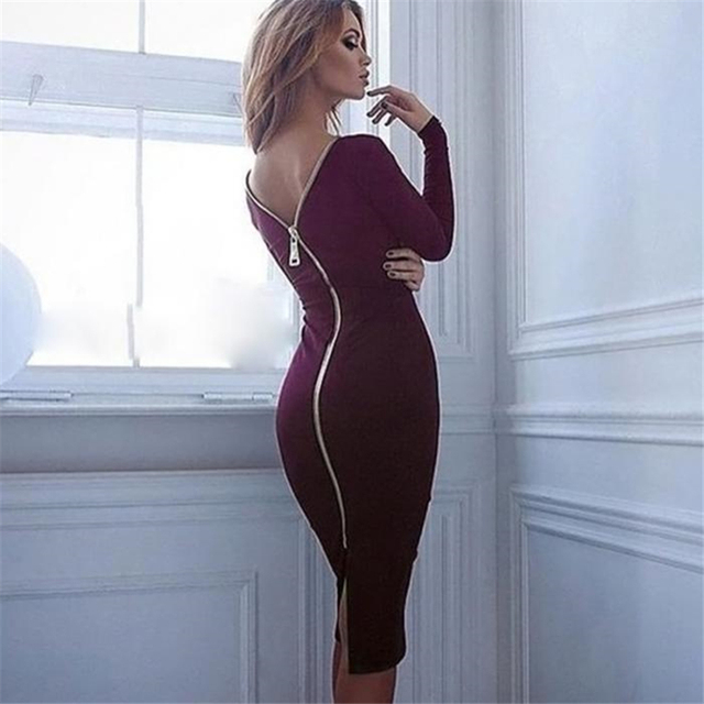 Color Zipped Backless Dress