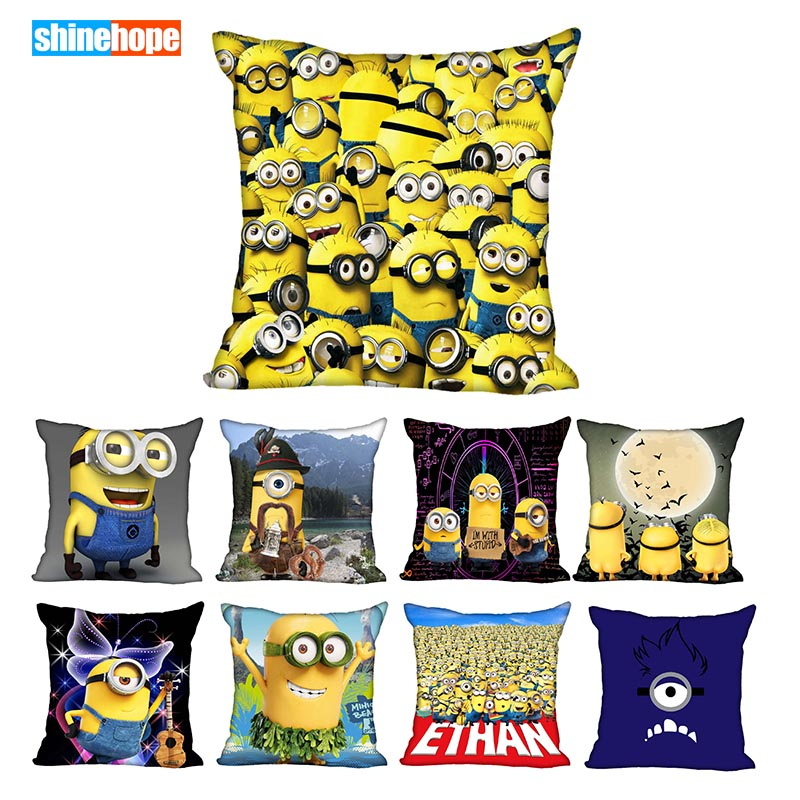 45X45cm,40X40cm(one Sides) Pillow Case Modern Home Decorative Minion Pillowcase For Living Room Pillow Cover
