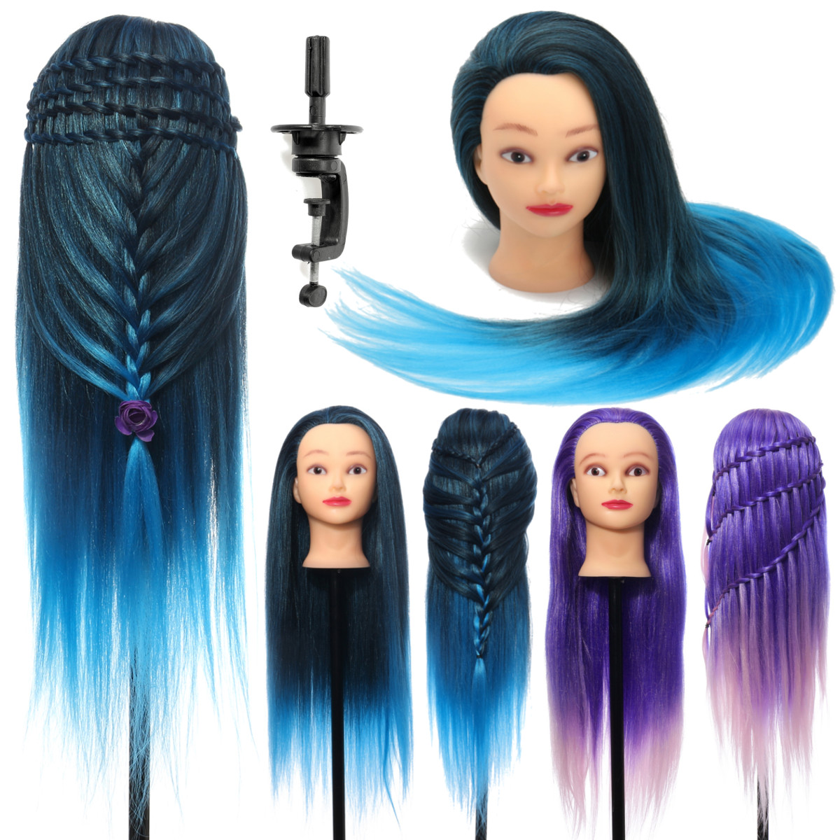 """26"""" Hairdressing Training Head Model Colorful High Temperature Fiber Long Hair With Clamp Salon Practice Doll Mannequin Head"""