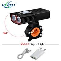Bicycle light USB charging dual light source led headlight waterproof xm l2 riding lighting 5000 lumens riding equipment