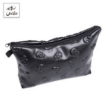 Black skull 3D Printing leather makeup bag women Fashion travel organizer PU cosmetic bag trousse de maquillage pencil case(China)