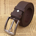 JHPING genuine leather belt  men letter pin buckle cowhide business casual leather belts Black
