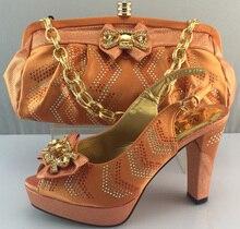 ME3308 Pfirsich farbe design mit Strass Schuhe Und Tasche Set heißer Verkauf Afrikanische Frau Schuhe Und Taschen Für Party