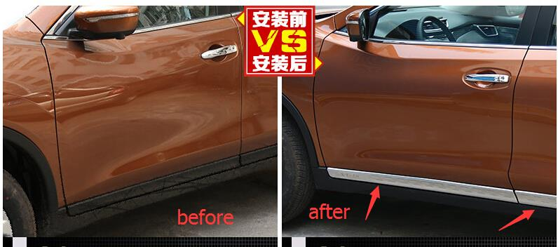 ФОТО Accessories ! Stainless Steel Side Door Body Molding Cover Trim 4 Pcs For Nissan Rogue 2014 2015 2016 / X-trail 2014 2015 2016