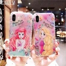 Funda de móvil bonita caricatura Alicia sirena princesa Kawaii chica Jasmine en relieve para iphone 11 Pro Max 8 7 6 6S Plus X XS Xr