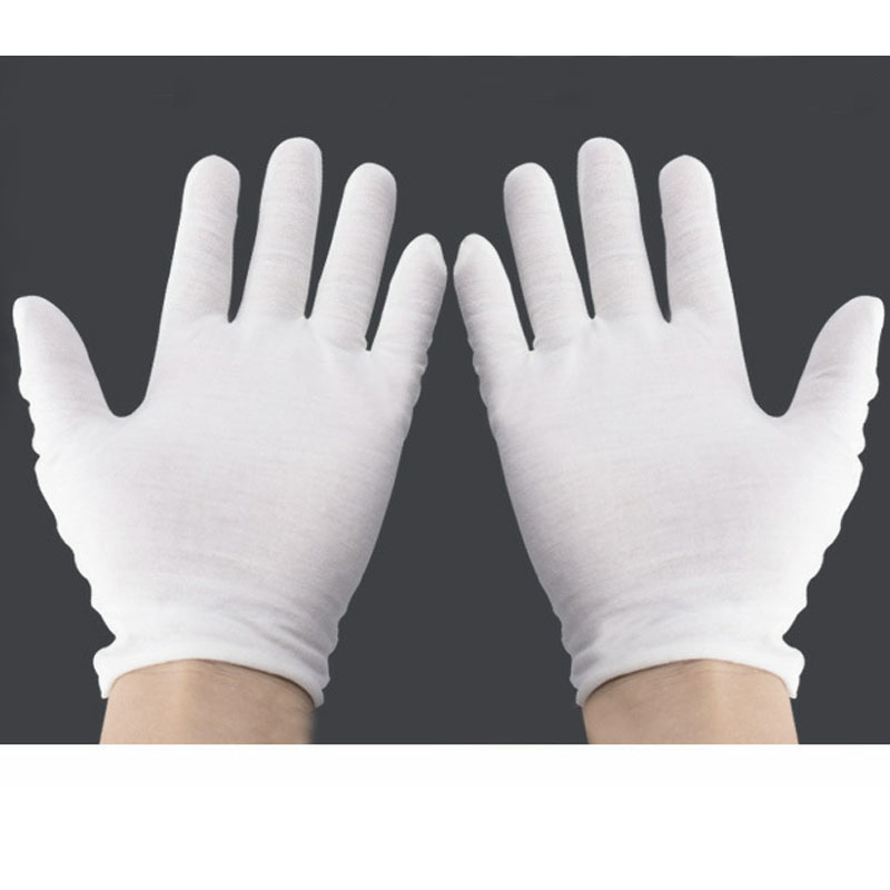 24pcs/lot White Safety Gloves Cotton Work Protective Gloves For Serving/Waiters/drivers Labor Protection Etiquette YST001