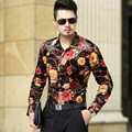 New Design 2016 Autumn & Winter Mens Floral Velvet Shirts Male Long Sleeve Flowers Printed Gold Velvet Dress Shirt