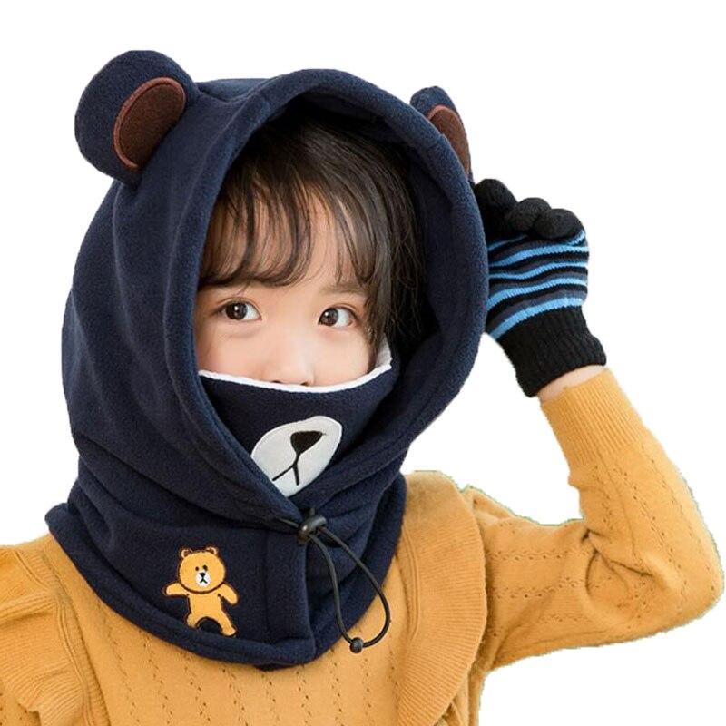 Beanie Warm Hat Kids Children Hooded Hat Scarf Fleece Winter Adjustable Circulal Earflap Ear Cap Scarves With Cartoon Bear Mask