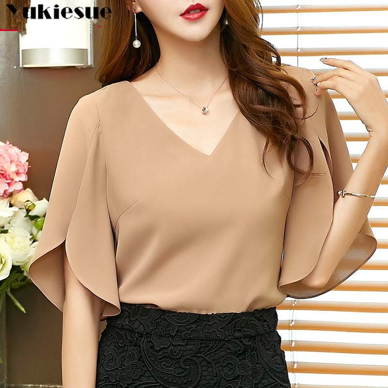 2018 Summer Blouses Womens Casual Solid Chiffon Shirt Blusa Feminina Butterfly Sleeve Korean Loose Women Blouse Black Top Blusas