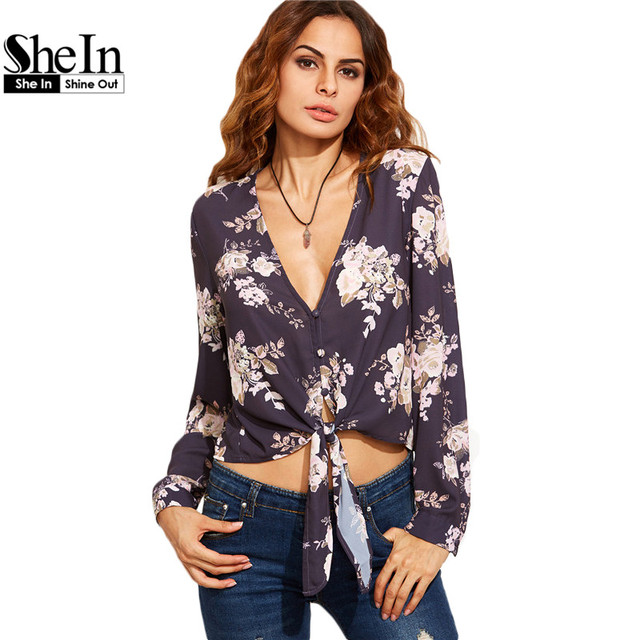 SheIn 2016 Casual Womens Tops and Blouses Autumn Ladies Floral Print Deep V Neck Tie Front Long Sleeve Crop Blouse