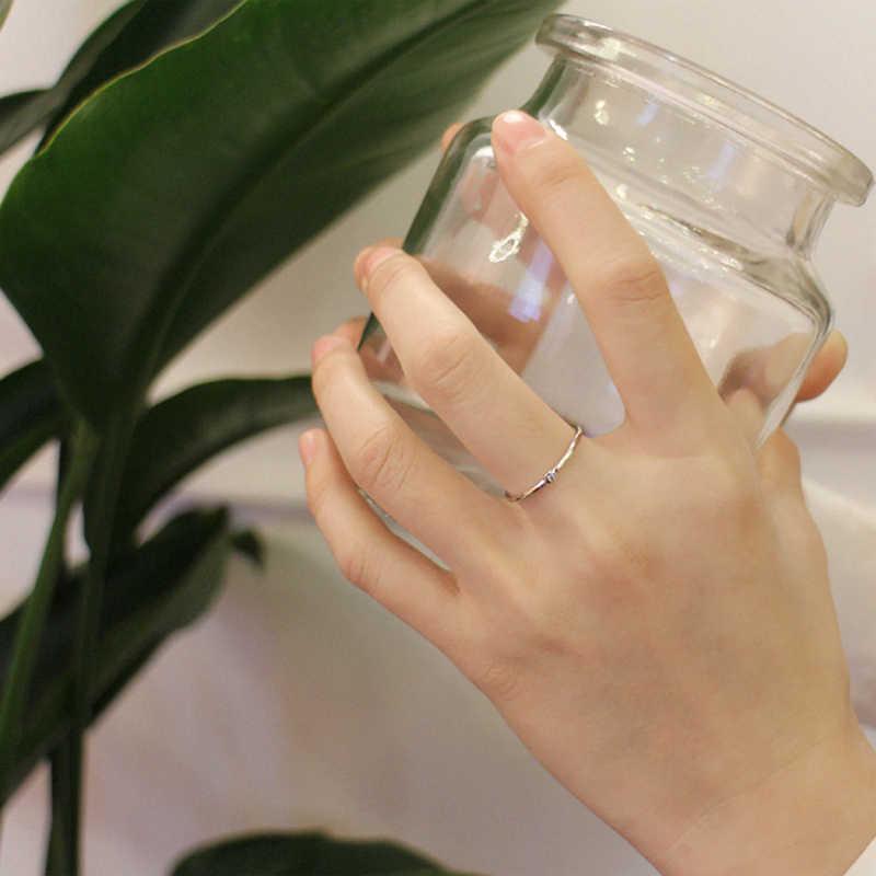 גדול J.W עלה זהב סטרלינג כסף דק אצבע טבעת מעוקב Zirconia 925 כסף סטרלינג מתכוונן טבעת להקות חתונה תכשיטים