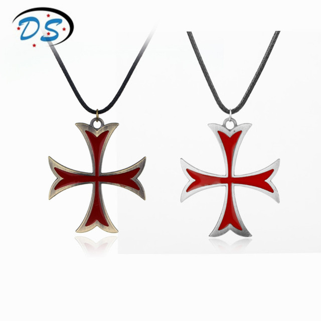 Movie jewellery necklace assassins creed templar cross pendant movie jewellery necklace assassins creed templar cross pendant necklace leather cord rope cross necklace for men aloadofball Image collections