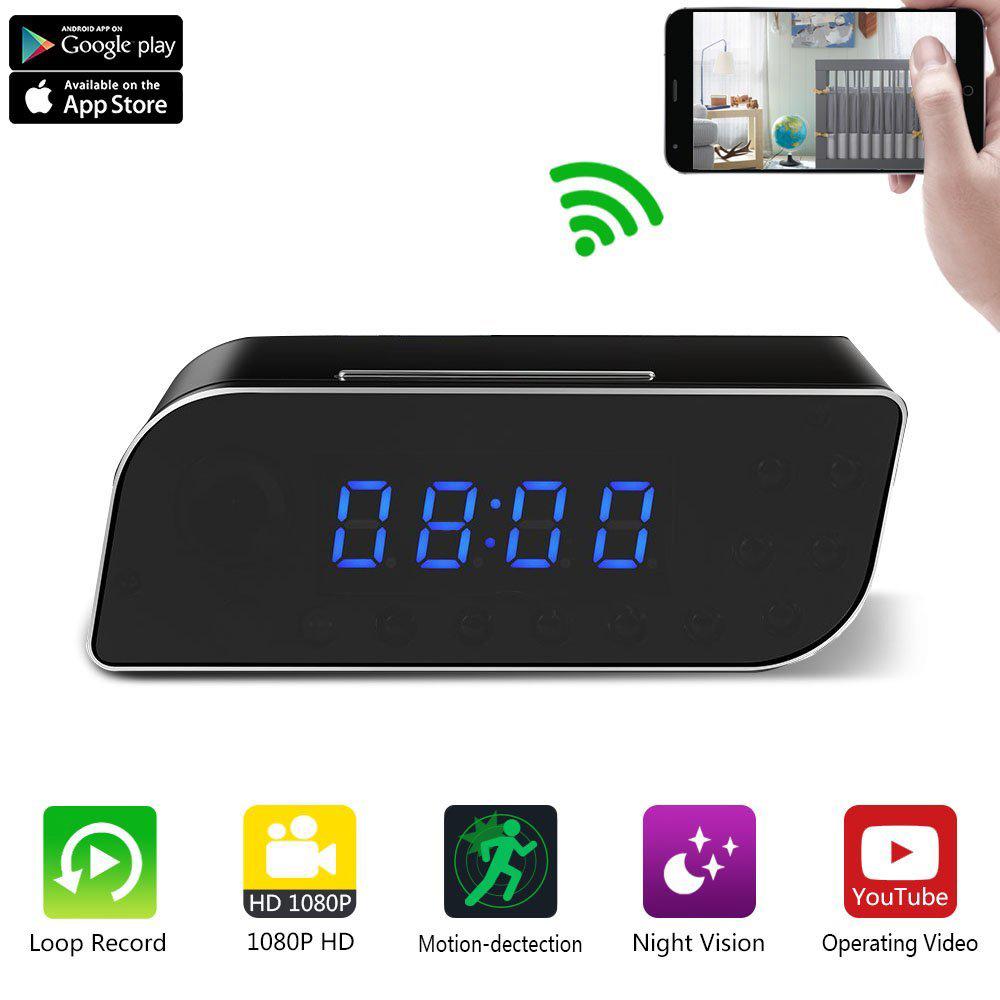 1080P HD H.264 Wireless Wifi Table Clock Remotely Portable Mini IP Camera Motion Detection Alarm Night Vision With Time Display