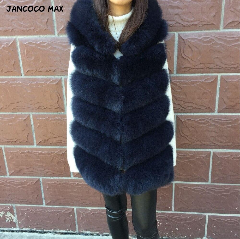 Jancoco Max 2018 Nuove Donne di Inverno Reale della Pelliccia di Fox Con Cappuccio Della Maglia di Alta Qualità di Modo di 6 Righe Gilet S7236