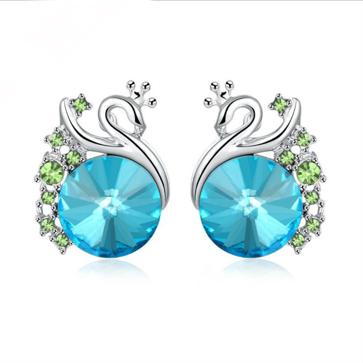 2018 NEW 925 silver earrings Europe Dark blue Crystals