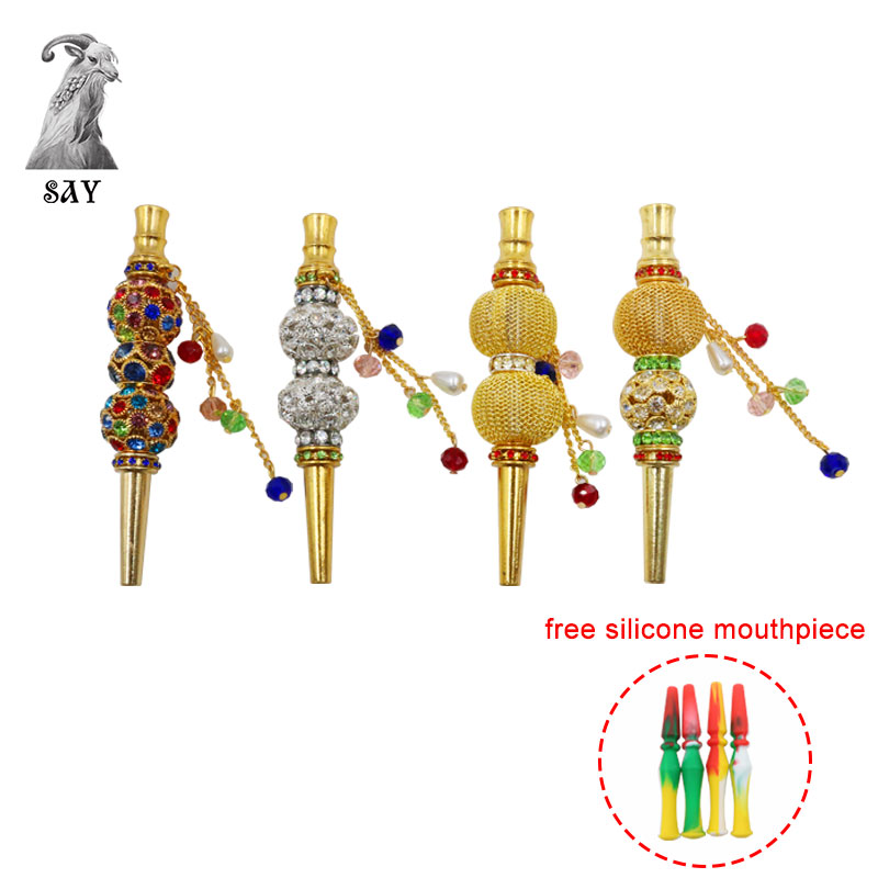 SY Handmade Inlaid Jewelry Hookah Mouthpiece Shisha Metal Mouth Tips Shisha Chicha Narguile Filter Hookah Mouthpiece