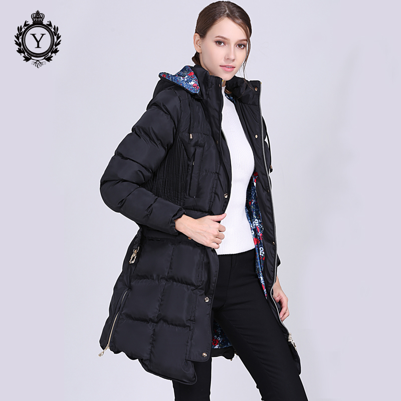 2018 COUTUDI New Winter Coat Long Slim Plus Size Thick Cotton Padded Winter Hooded Jacket Womens