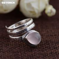 Gqtorch 925 Sterling Silver Rings For Women Inlaid Rose Quartz Natural Stone Opening Type Multi Layers Vintage Snake Ring