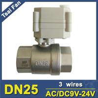 High Quality Brand New Electric Automatic Ball Valve 2 Way Stainless Steel NPT/BSP 1 AC/DC9 24V 3 Wires On/Off 5 Sec CE/IP67