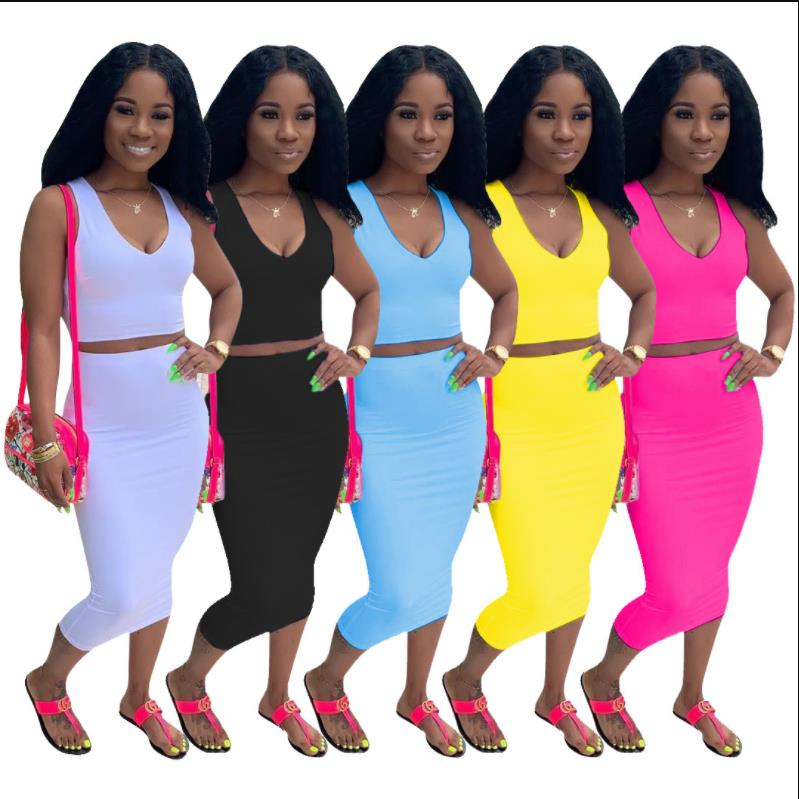 2019 New Women Summer Solid Tank Top Bodycon Midi Skirts Suit Two Piece Set Club Party Women's Tracksuit Outfit Dress D9120