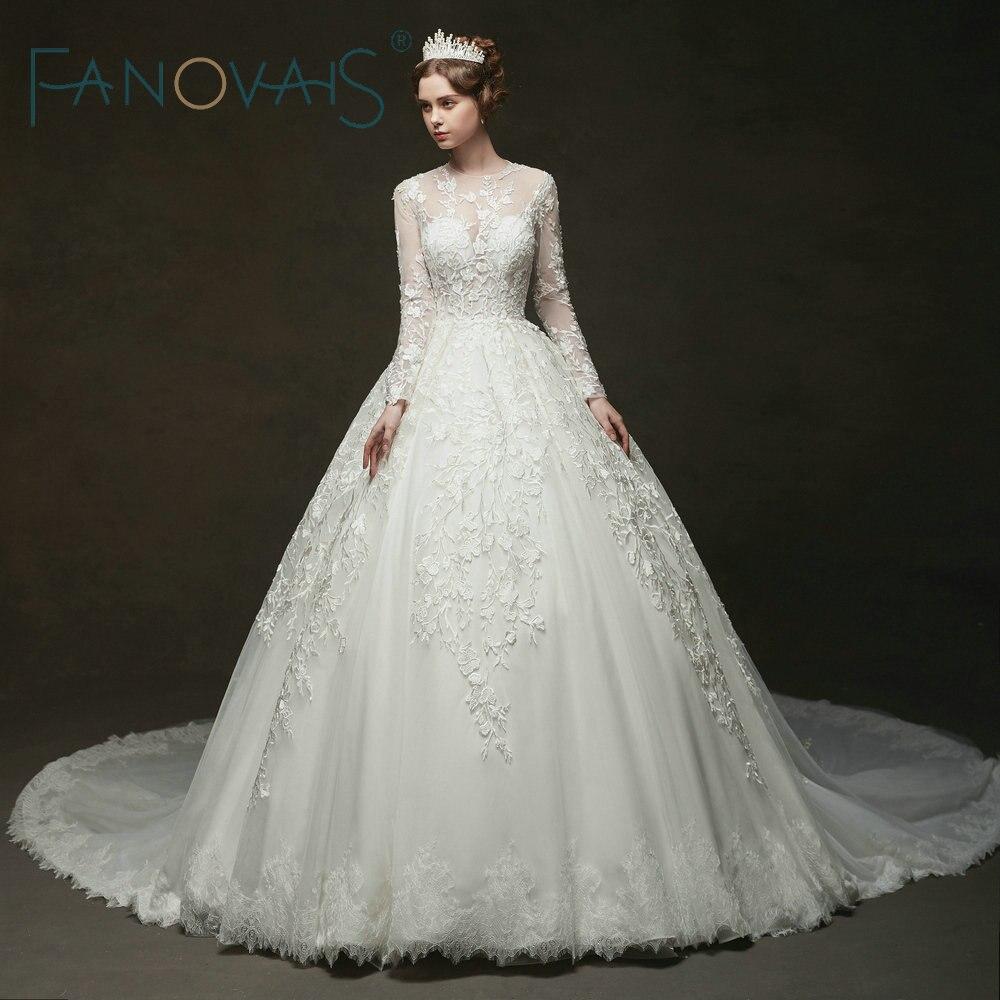 Vintage Lace Wedding Dresses Long Sleeves Royal Bridal