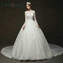 Vintage Lace Wedding Dresses Long Sleeves Royal Bridal Gowns 2019 Vestido De Novia Robe De Mairee Couture Dress Plus Size