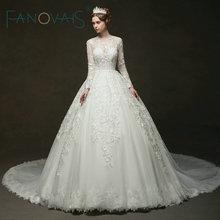 Vintage ชุดแต่งงานลูกไม้แขนยาว Royal ชุดเจ้าสาว 2019 Vestido De Novia Robe De Mairee Couture ชุด Plus ขนาด