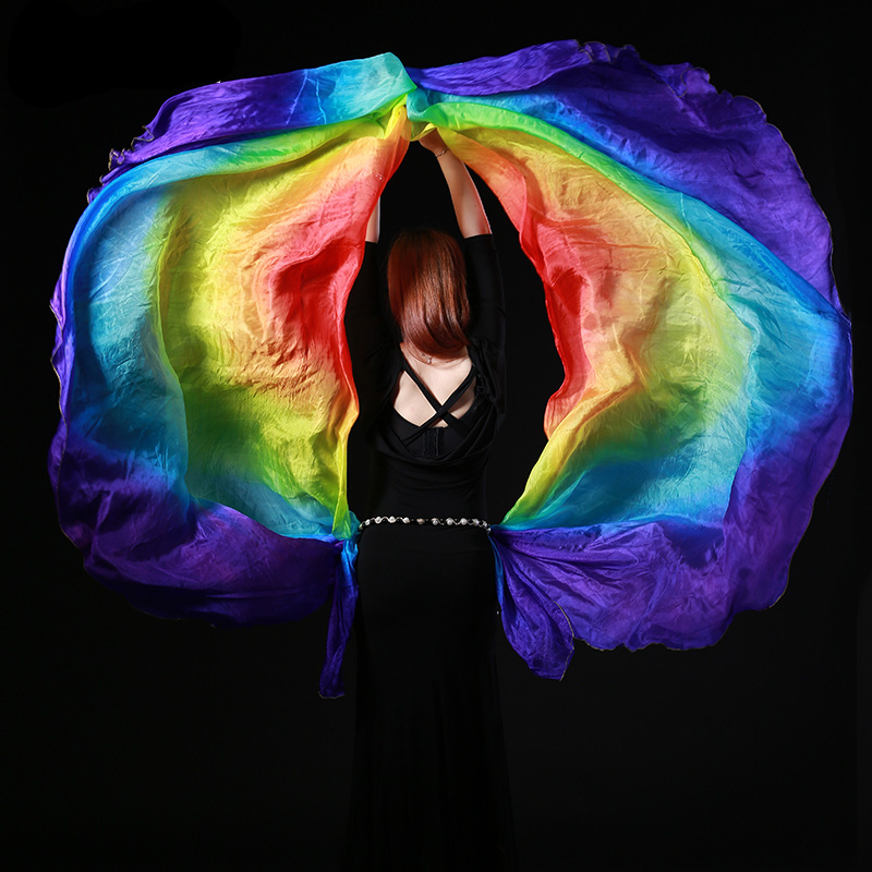 100% Silk Belly Dance Gradient Color Shawl Veil 260x110cm Belly Dance Colorful Silk Veils Semicircle Scarf Shawl Veil 2 Pieces