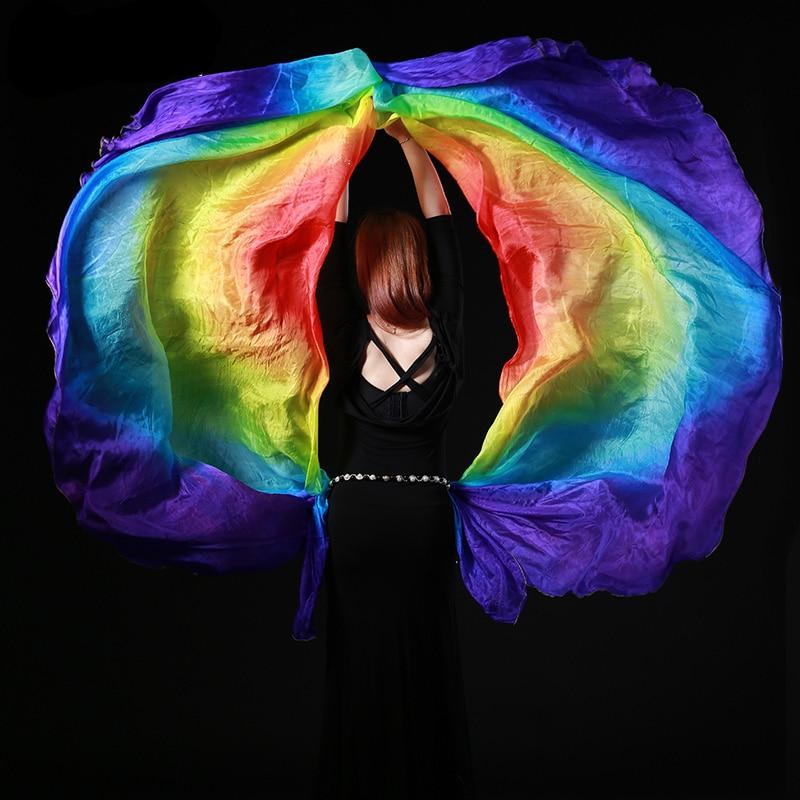 100% zijde buikdans gradiëntkleur sjaal sluier 260x110cm buikdans kleurrijke zijden sluiers halve cirkel sjaal sluier sluier 2 stuks