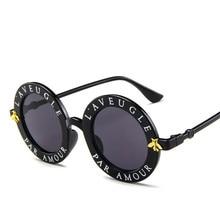 Retro Round Sunglasses Women Brand Designer English Letters
