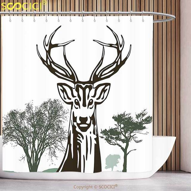 Decorative Shower Curtain Antlers Decor Deer Moose With Trees Silhouettes Outline Of Village MountaIn Fall Forest Bathroom