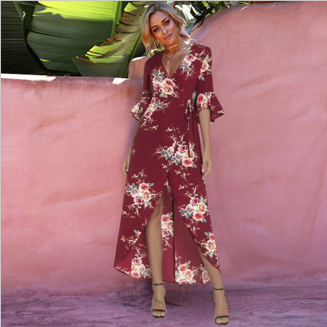 2018 summer New fashion European and American style vestidos trumpet sleeves cross-tie printed dress front short long dresses