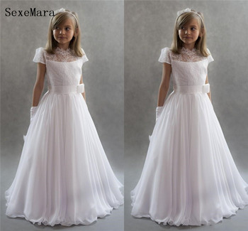 High Quality White Lace Top Girls First Communion Dress Chiffon Lace Bow Girls Dresses for Wedding Kids Birthday Gown Size2-16Y
