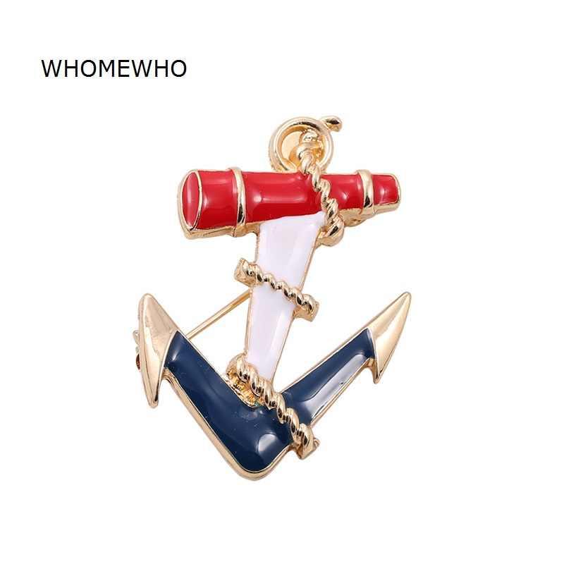 Emas Logam Biru Epoxy Jangkar Laut Bros Pin Bros Wanita Lencana Fashion Gaun Pakaian Perhiasan Lucu Gadis Hadiah Aksesoris