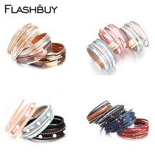 Flashbuy Multilayer Leather Bracelets for Women Jewelry Decoration Bohemian Style Magnet Wrap Bracelet Gift Clothes Accessories